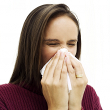 If you sneeze, use a tissue and throw it away immediately.